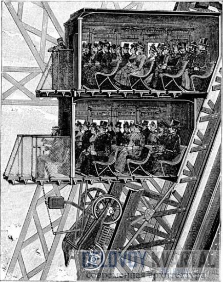Старая гравюра с изображением лифта и винтовых лестниц в башне