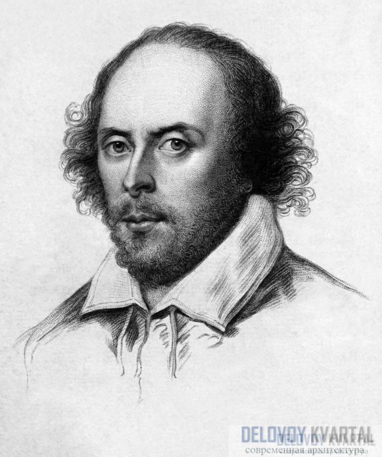 Шекспир изображен на гравюре 1783 года, это копия более старой картины. Шекспир основал первый «Глобус», он сам играл на сцене и написал множество пьес для театра.