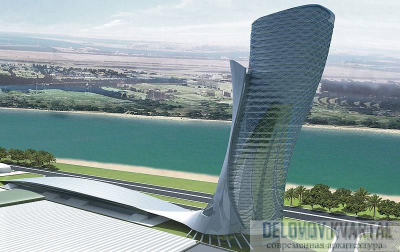 Небоскреб Capital Gate (арх. RMJM, Абу-Даби, ОАЭ)