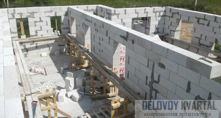 Процесс строительства объекта из пеноблоков