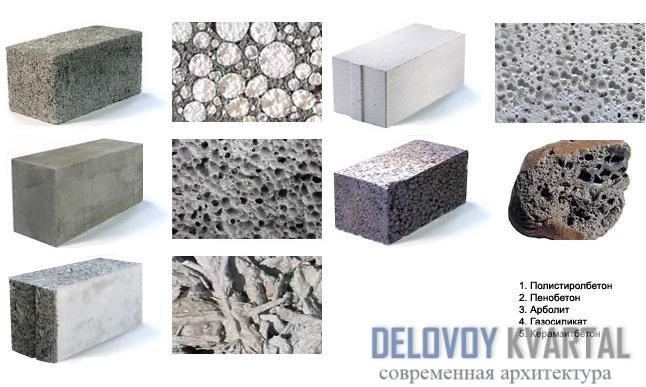 Виды легких бетонов